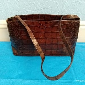 Vintage Furla Croc Embossed Shoulder Bag